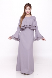 (VENOS) - Lora Jubah Dress Wave Peplum