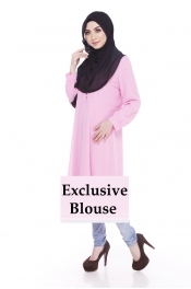 Acalqis Button Blouse Top Exclusive (NOT LONGER THAN KNEE)