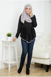 Casandra Silver Peplum Blouse (Plus Size)
