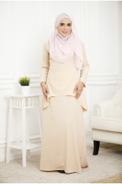 (PLUS SIZE)Louisha Plain Fishtail Ribbon Baju Kurung(Modern)