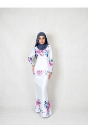 Elvina Floral Printed baju Kurung (PLUS SIZE)