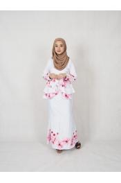 Rosa Rose Floral Printed baju Kurung (PLUS SIZE)