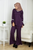 (VENOS) - Veronica swarovski Diamond Palazo Blouse + Pants Set