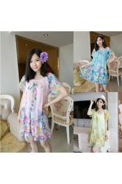 Korean Summer Flora Chiffon Dress