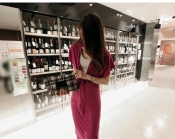 Korean V Style Casual Office Women Dress