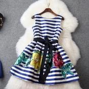 Europe Retro Flora Midi Dress