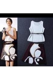 Korean Summer Stylist Design Tops+Skirts One Piece (With Belt) Exclusive