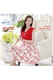 Korean Singature Printed Casual Dress (Free Necklace)