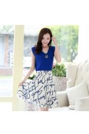 Korean Singature Printed Casual Dress (Free Necklace)