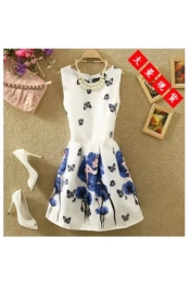 Korean Summer Flora Exclusive Retro Dress