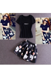Korean Summer Retro Printed Swan Top+Skirt Exclusive