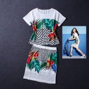 Korean Summer Island Forest Printed Retro Top+Skirt Exclusive