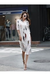 Korean Summer Retro Printed Logo Dress
