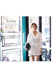 Korean Autumn Loose Design Casual Dress (With Belt)