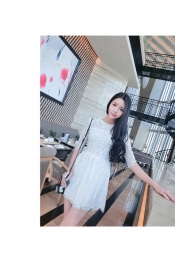 Korean Autumn Lace Patterned Casual Dress