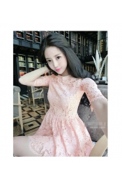 Korean Autumn Lace Patterned Casual Dress