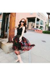 Korean Autumn Rose Casual Midi Dress Top+Skirt Two piece