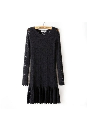 Euro New Style Mistress Sweetheart Pencil Dress with Lace Long Sleeve