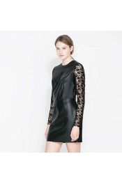 Europe Summer River Island Night Life Pu Sexy Lace Dress Long Sleeve