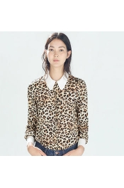 Europe Leopard Casual Summer Tops Long Sleeve