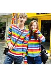 Korean Summer Color Full Stripes Casual Tops Long Sleeve