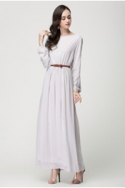 Muslim Trendy Modern Style Casual Outdoor Jubah Dress With Belt