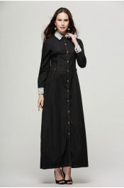 Modern Style Denim Casual Jubah Dress With Collar