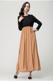 Muslim New Style Lace Pattern Long Sleeve Jubah Dress