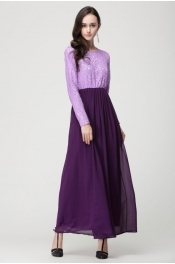 Muslim New Style Lace Pattern Long Sleeve Jubah Dress