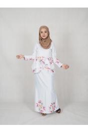 Qima Floral Printed baju Kurung
