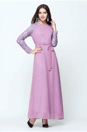 Muslim Long Sleeve Lace Pattern Flora Casual Jubah Dress