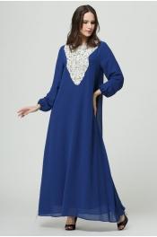 Lace Pattern V Style Shape Muslim Jubah Long Sleeve Dress
