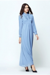 Muslimah Ruffles Jubah Dress Classic Button Front Style