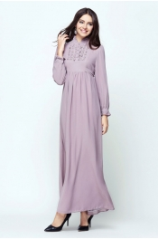 Muslimah Ruffles Jubah Dress Classic Button Front Style