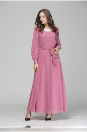 Jubah Lace Design On Neck Casual Dress With Belt