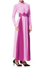 Muslimah Lace Design Jubah Dress 2 Color Purple