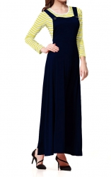 Muslimah Pinafore abaya Strap Jubah Dress + Tops Stripes 2 Piece