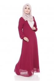 Ashita Embroided Jubah Dress Dark Red