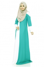 Vervinas Loose Fitting Jubah Dress Green (Back Zip)
