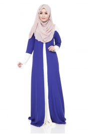 Vervinas Loose Fitting Jubah Dress Dark Blue (Back Zip)
