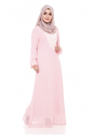 Ashita Embroided Jubah Dress Pink