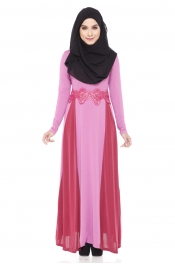 Muslimah Lace Design Jubah Dress 2 Color White Blue Abaya Hijab