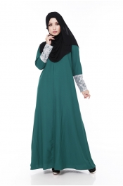 Zarita Lace Dark Green (Front Zip+Sleeve Zip)