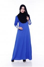 Zarita Lace Dark Emerald Blue (Front Zip+Sleeve Zip)