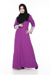 Zarita Lace Dark Emerald Purple (Front Zip+Sleeve Zip)