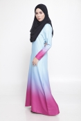 Carina Ombre Blue Purple Jubah Dress