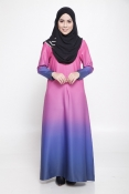 Carina Ombre Dark Pink Dark Blue Jubah Dress