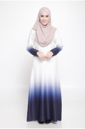 Carina Ombre White Dark Blue Jubah Dress