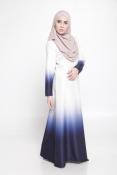 Carina Ombre White Dark Blue Jubah Dress