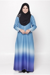 Serina Ombre Zip Sea Blue Dark Blue Jubah Dress